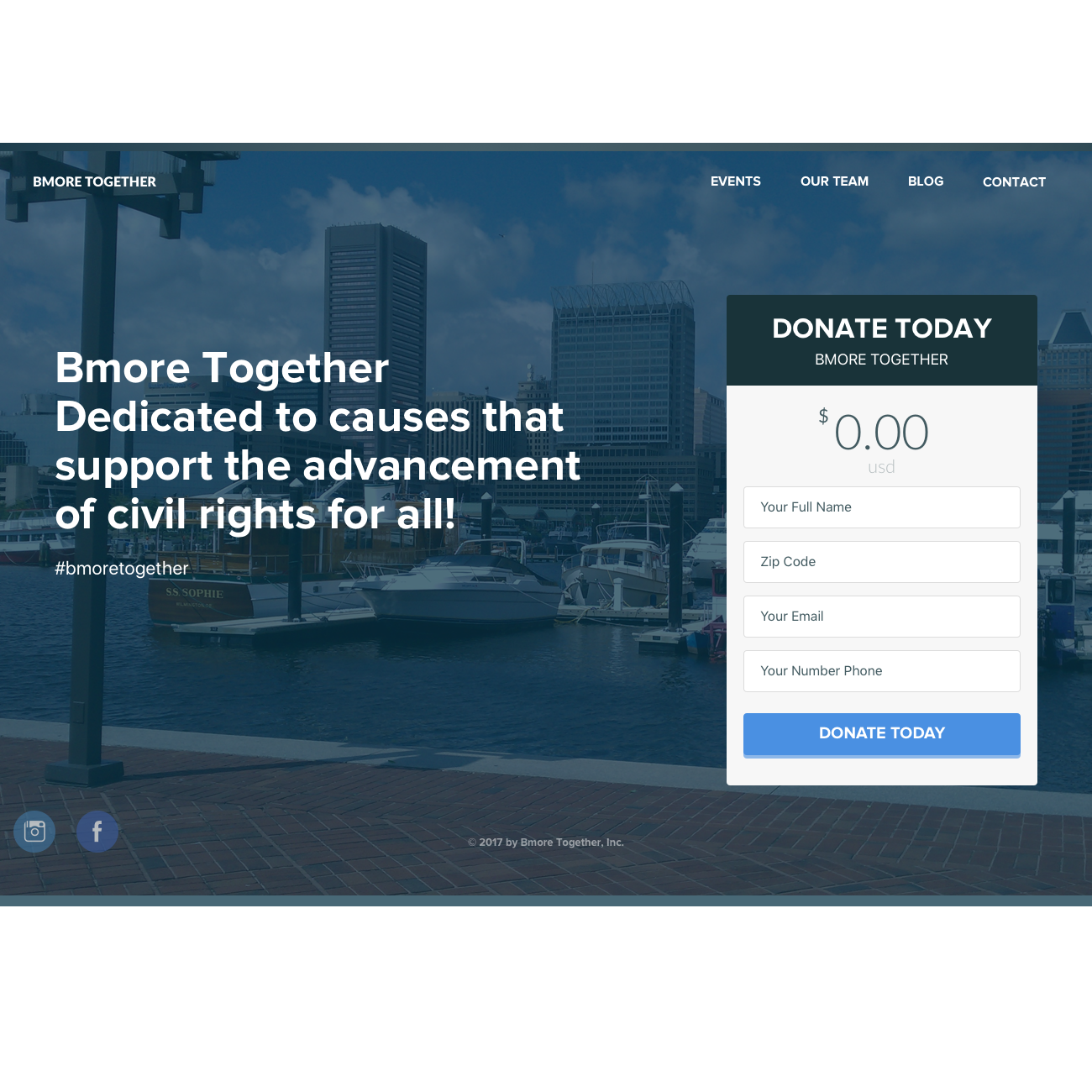 Bmore Together concept for a marketing website